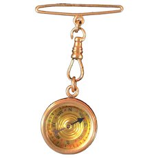 Antique Victorian Era Gold Filled Compass Watch Fob with 14K Gold Bar and Clasp