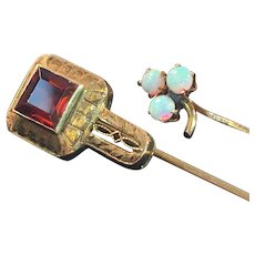 2 Ca 1900 10K Gold Stick Pins with Precious Stones 2.4 Grams