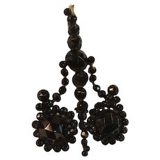 Ca 1850's Victorian Memorial Brooch with Jet Beads