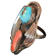 Vintage Handcrafted South Western Ring w Turquoise and Coral Stones