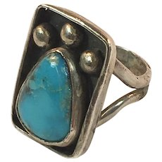 Vintage Handcrafted Silver and Turquoise Ring Size 5-1/2