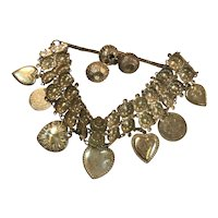 Vintage Handcrafted Victorian Silver Charm Bracelet with Puffy Hearts & 1850s Coins