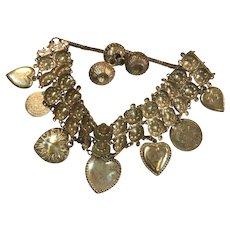 "Vintage Handcrafted Victorian  Silver ""Love"" Charm Bracelet"