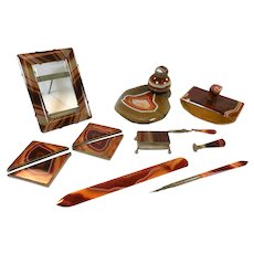 9 pc Scottish Agate Desk Set c1900 Inkstand Frame Stamp Box Letter Opener Desk Pad Corners etc.