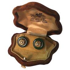 Vintage Art Deco 18K Gold, Green Jade, and Diamond Earrings