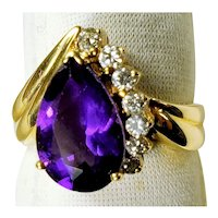 Vintage 14K Gold Ring with Amethyst and Diamonds 4.8 Grams Size 6 3/4