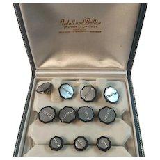 Vintage Art Deco Udall and Ballou Gents Dresser Set 14K Gold, Platinum, Diamonds, Onyx