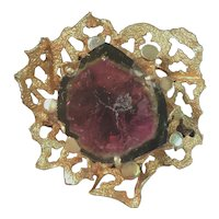 Vintage 14K Gold Brooch with Large Watermelon Tourmaline Stone 8.6 Grams