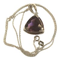 Vintage 14K White Gold Tanzanite Pendant and Chain 4.2 Grams