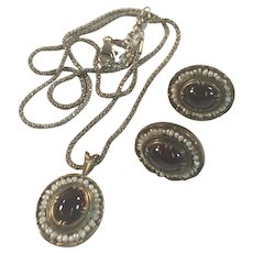 Vintage Sterling Silver Earrings and Pendant Set with Garnets and Seed Pearls