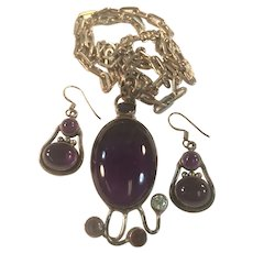 Vintage Sterling Silver Earrings and Pendant Set with Amethyst, Garnet, and Blue Topaz