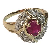 Vintage 14K Gold Ring with Large Ruby Surrounded by Small Cut Diamonds Size 6 3/4