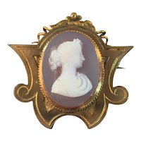 Antique Victorian 14K Gold Cameo Brooch 7.9 Grams