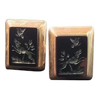 Antique Victorian 14k Rose Gold Earrings with Carved Black Onyx 12.3 Grams