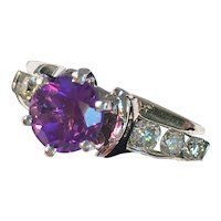 Vintage 14K White Gold Ring Featuring Amethyst and Diamond Stones Size 6 3/4 - with Appraisal