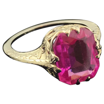 14K White Gold Ring with Large Ruby-Type Stone SALE