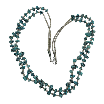 Vintage 2-Strand Turquoise and Sterling Silver Necklace