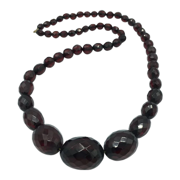 27 Inch Vintage Cherry Amber Graduated Necklace