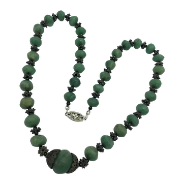 21 Inch Vintage Ca 1920's Moss Agate Necklace with Sterling Silver Spacers