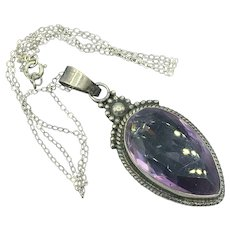 Vintage Sterling Silver Featuring Large Tear Drop Amethyst Stone 18 Inch Chain