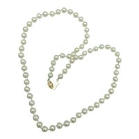 21 Inch Vintage Ca 1950's 6-1/2mm Cultured Pearl Necklace with 14k Gold Clasp