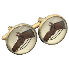 Vintage Ca 1930's Cufflinks with Reversed Painted Horse Head Design