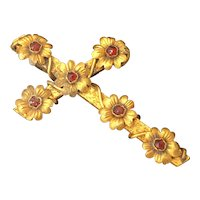 Vintage Gold-Filled Cross Decorated with Garnet Stones