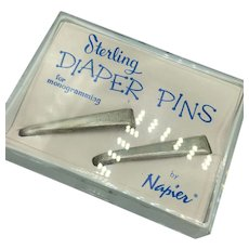 Vintage Ca 1950's Sterling Silver Diaper Pins by Napier in Original Packaging