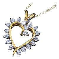 Vintage 14K Gold Necklace Diamond Heart Pendant on 16 Inch Gold Chain 2 Grams