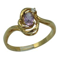 Vintage 9K Gold Ring with Citrine and Clear Tourmaline 2.1 Gram Size 10
