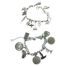 2 Vintage Sterling Silver Charm Bracelets  1.46 Troy Oz.