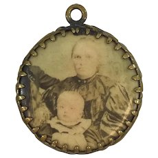 Victorian Portrait Celluloid Watch Fob or Pendant - Old Family Photos