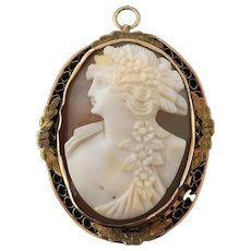 Victorian 14K Gold Shell Cameo Pendant
