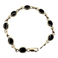 Vintage Van Dell 14K Gold and Black Onyx Link Bracelet