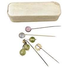 4 Vintage Stick Pins with Gemstones and Vintage Fabric Box