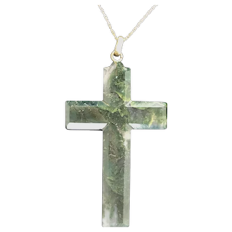 "Large 2.75"" Vintage Carved Moss Agate Cross with 14K Gold Chain"