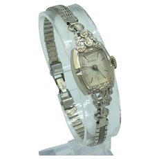 Vintage 14K White Gold Benrus Wristwatch With Diamond