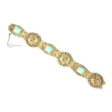 Handcrafted Silver on Brass Bracelet with Turquoise Colored Glass Stones