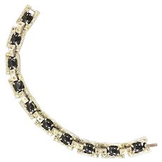 Art Deco Bracelet with Black Glass and Marcasite Stones