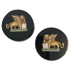 2 Micromosaic Buttons with Gryphon Design