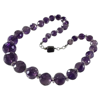 Vintage 18-Inch Amethyst and Clear Crystal Necklace