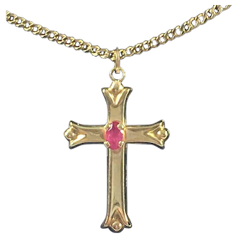 Vintage 14K Gold Cross with Red Spinel Stone
