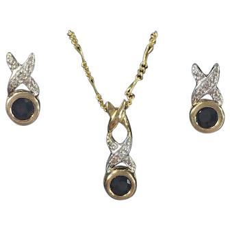 14K Gold Pendant and Earring Set w/Sapphire and Diamonds