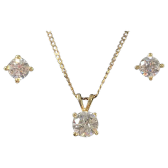Clear Gemstone & Gold Pendant Necklace and Earrings Set