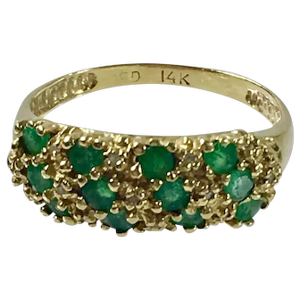 14K Gold Ring with Green Emeralds