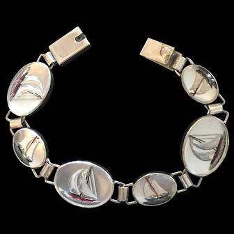 Vintage Vincent Simone Crystal Sterling Silver Bracelet Sailboat