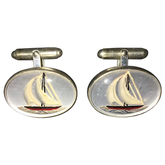 Vincent Simone Crystal Sterling Silver Sail boat Cuff links cufflinks
