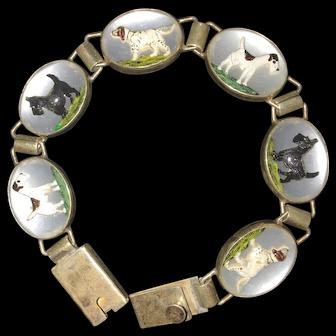 Vintage Vincent Simone Crystal Sterling Silver Bracelet Pointer Dog Terrier