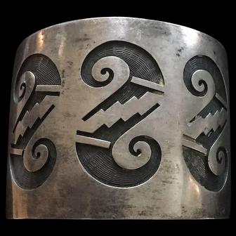 Vintage Hopi Swirl Cutout  Sterling Silver Cuff Bracelet by Hubert Yawytewa