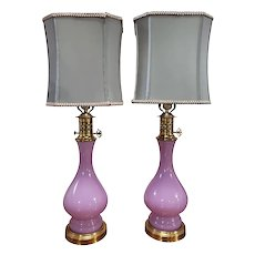 Pink opaline glass lamps